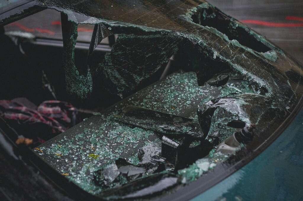 A heavily damaged car